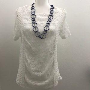 Lucky brand crochet white top